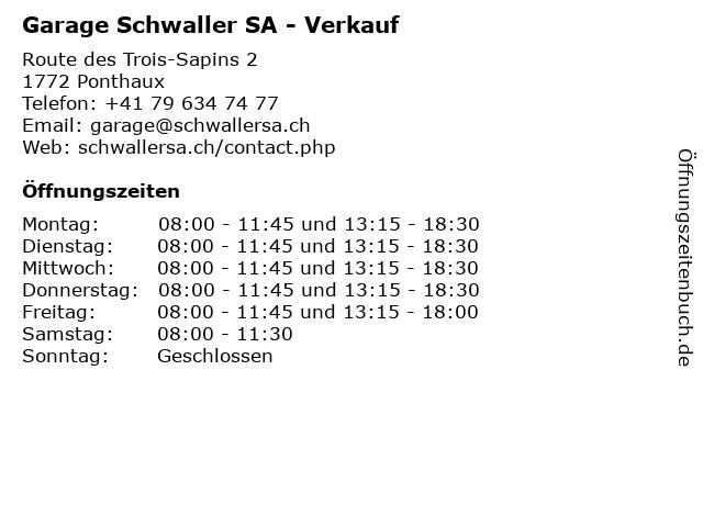 Garage Schwaller SA - Verkauf in Ponthaux: Adresse und Öffnungszeiten