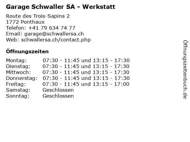 Garage Schwaller SA - Werkstatt in Ponthaux: Adresse und Öffnungszeiten