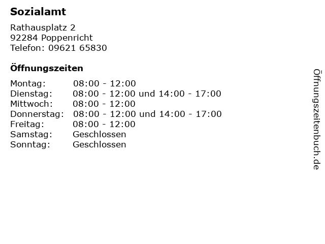 Sozialamt in Poppenricht: Adresse und Öffnungszeiten