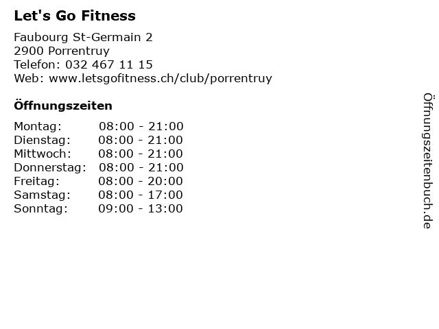 Let's Go Fitness in Porrentruy: Adresse und Öffnungszeiten