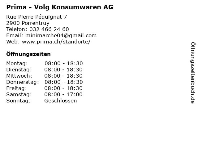 Prima - Volg Konsumwaren AG in Porrentruy: Adresse und Öffnungszeiten