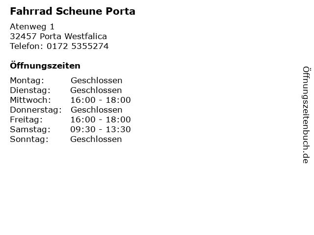 Fahrrad Scheune Porta in Porta Westfalica: Adresse und Öffnungszeiten