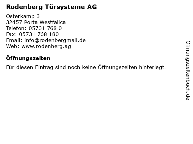 ᐅ Offnungszeiten Rodenberg Tursysteme Ag Osterkamp 3 In