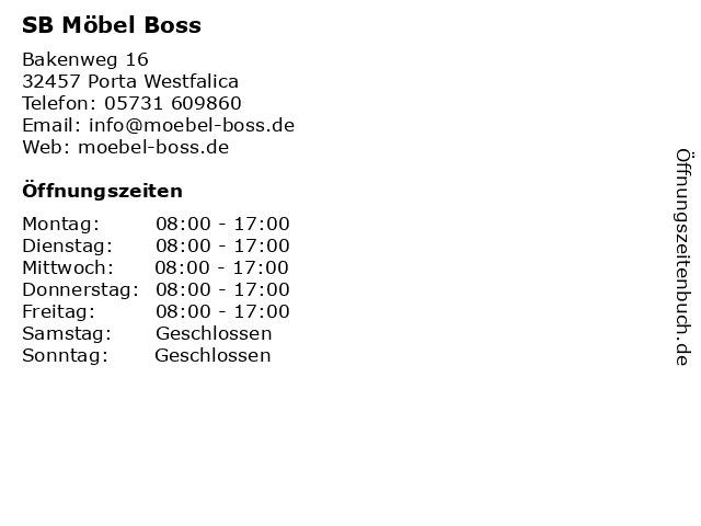 ᐅ öffnungszeiten Sb Möbel Boss Bakenweg 16 20 In Porta Westfalica