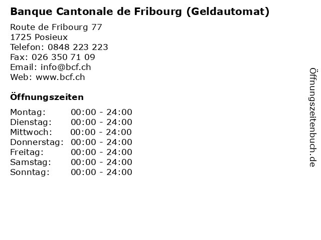 Banque Cantonale de Fribourg (Geldautomat) in Posieux: Adresse und Öffnungszeiten