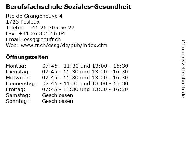 Berufsfachschule Soziales-Gesundheit in Posieux: Adresse und Öffnungszeiten