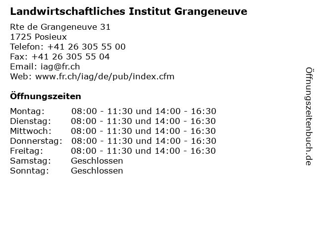 Landwirtschaftliches Institut Grangeneuve in Posieux: Adresse und Öffnungszeiten