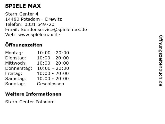 SPIELE MAX AG in Potsdam - Drewitz: Adresse und Öffnungszeiten