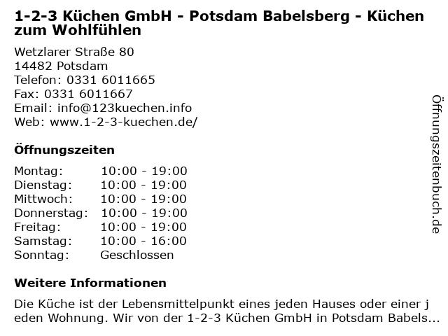 ᐅ Offnungszeiten 1 2 3 Kuchen Gmbh Ruckertstrasse 2a In Potsdam