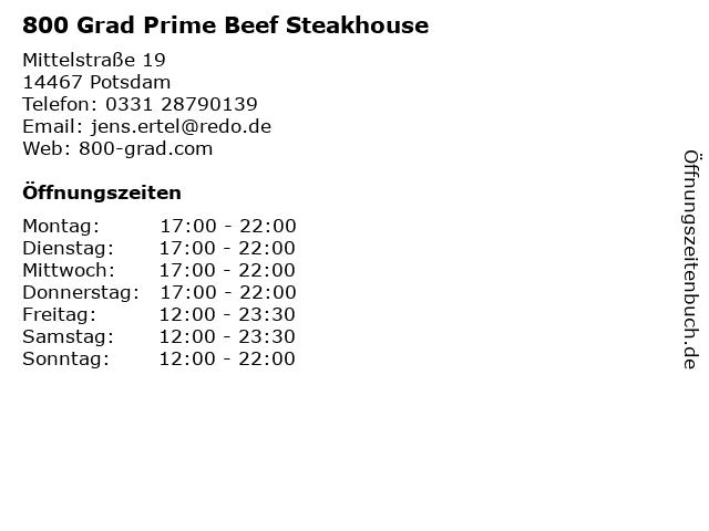 800 Grad Prime Beef Steakhouse in Potsdam: Adresse und Öffnungszeiten