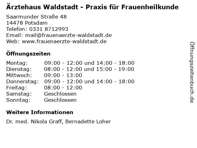 Ärztehaus Waldstadt - Praxis für Frauenheilkunde in Potsdam: Adresse und Öffnungszeiten