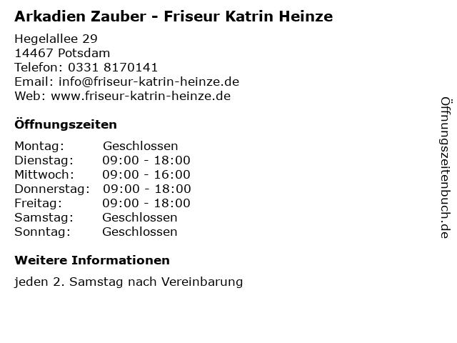 Arkadien Zauber - Friseur Katrin Heinze in Potsdam: Adresse und Öffnungszeiten