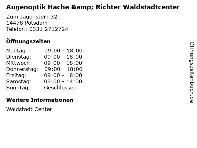 Augenoptik Hache & Richter Waldstadtcenter in Potsdam: Adresse und Öffnungszeiten