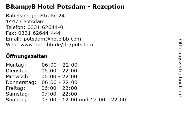ᐅ Offnungszeiten B B Hotel Potsdam Rezeption Babelsberger
