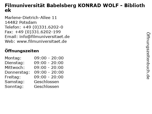 BIBLIOTHEK der Hochschule für Film und Fernsehen -Konrad Wolf-- Potsdam (VORLESUNGSZEIT) in Potsdam: Adresse und Öffnungszeiten