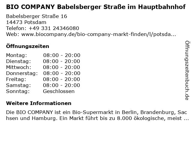 BIO COMPANY Babelsberger Straße im Hauptbahnhof in Potsdam: Adresse und Öffnungszeiten