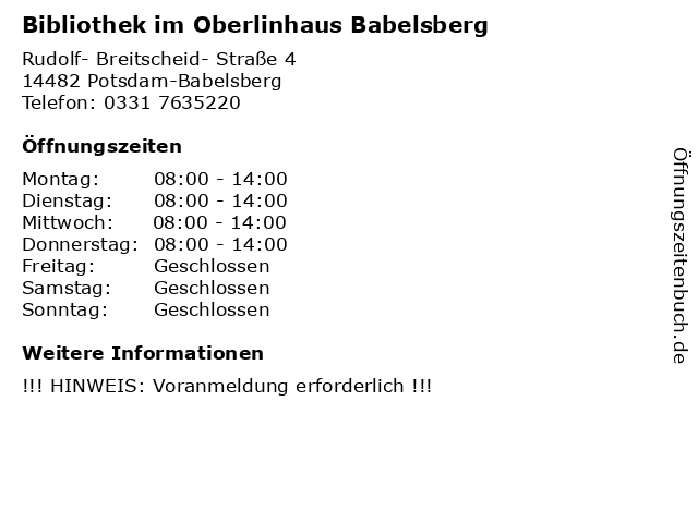 Bibliothek im Oberlinhaus Babelsberg in Potsdam-Babelsberg: Adresse und Öffnungszeiten