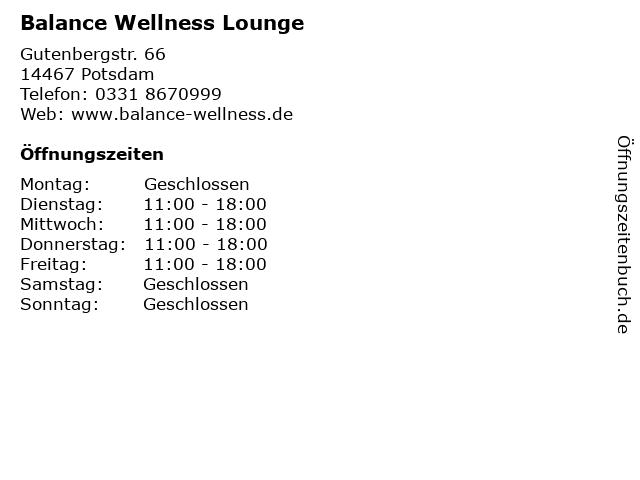 Balance Wellness Lounge in Potsdam: Adresse und Öffnungszeiten