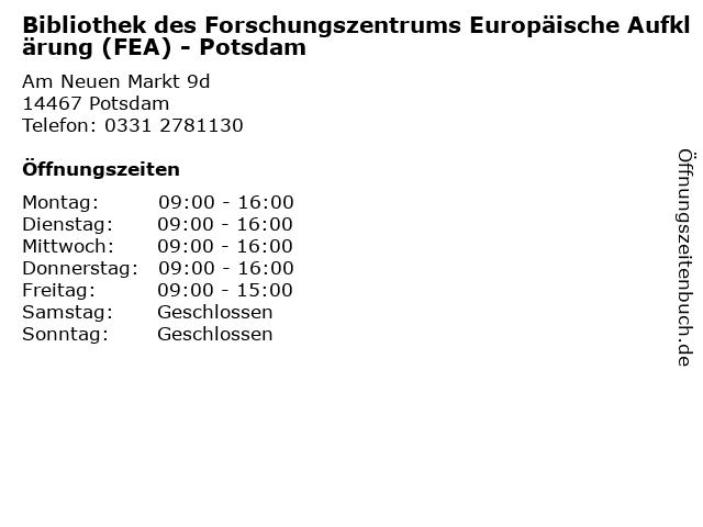 Bibliothek des Forschungszentrums Europäische Aufklärung (FEA) - Potsdam in Potsdam: Adresse und Öffnungszeiten