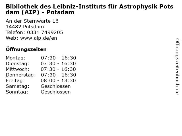 Bibliothek des Leibniz-Instituts für Astrophysik Potsdam (AIP) - Potsdam in Potsdam: Adresse und Öffnungszeiten