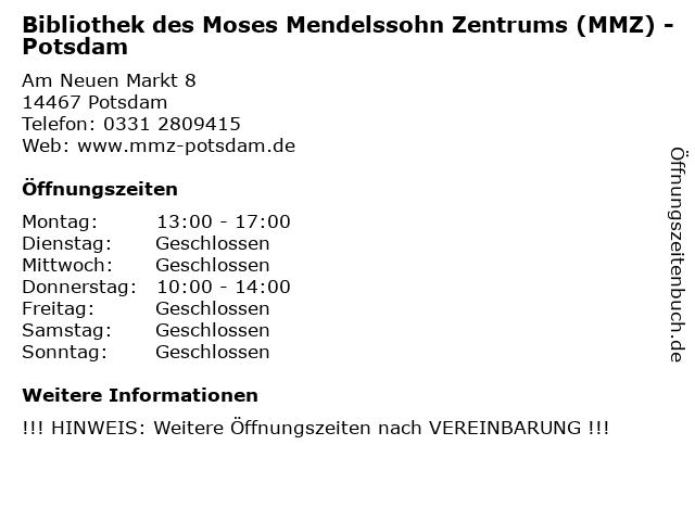 Bibliothek des Moses Mendelssohn Zentrums (MMZ) - Potsdam in Potsdam: Adresse und Öffnungszeiten