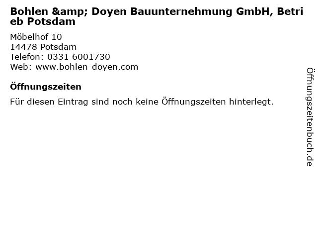 Bohlen & Doyen Bauunternehmung GmbH, Betrieb Potsdam in Potsdam: Adresse und Öffnungszeiten