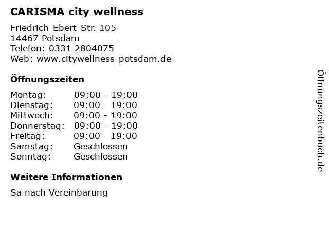 CARISMA city wellness in Potsdam: Adresse und Öffnungszeiten