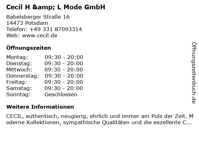 Cecil H & L Mode GmbH in Potsdam: Adresse und Öffnungszeiten
