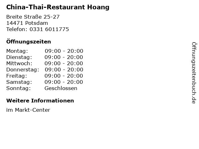 China-Thai-Restaurant Hoang in Potsdam: Adresse und Öffnungszeiten