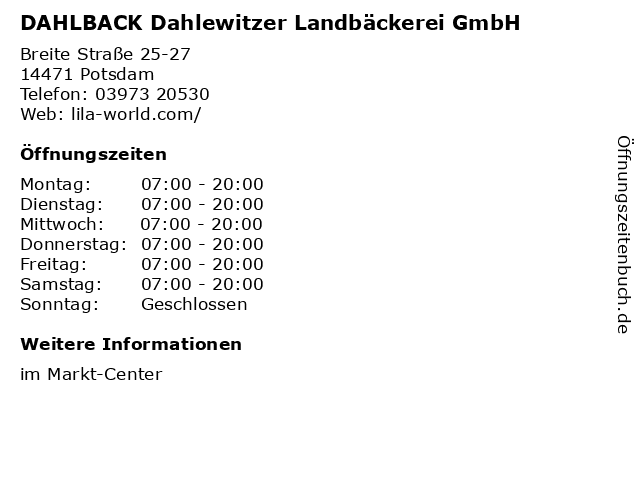 DAHLBACK Dahlewitzer Landbäckerei GmbH in Potsdam: Adresse und Öffnungszeiten