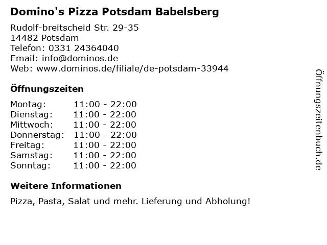 Domino's Pizza Potsdam in Potsdam: Adresse und Öffnungszeiten