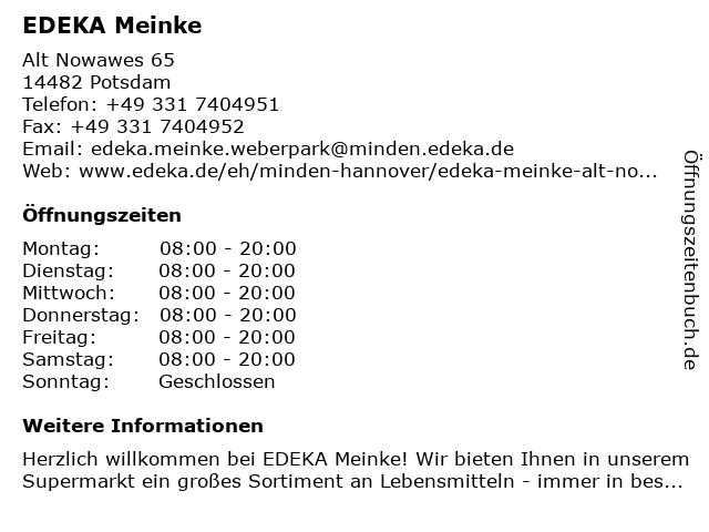 EDEKA Meinke in Potsdam: Adresse und Öffnungszeiten