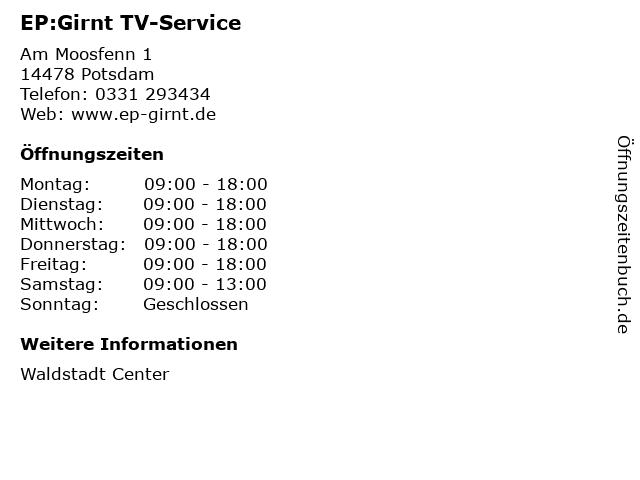 EP:Girnt TV-Service in Potsdam: Adresse und Öffnungszeiten