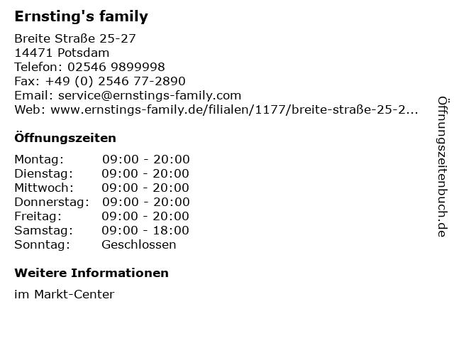Ernsting's family GmbH & Co. KG in Potsdam: Adresse und Öffnungszeiten