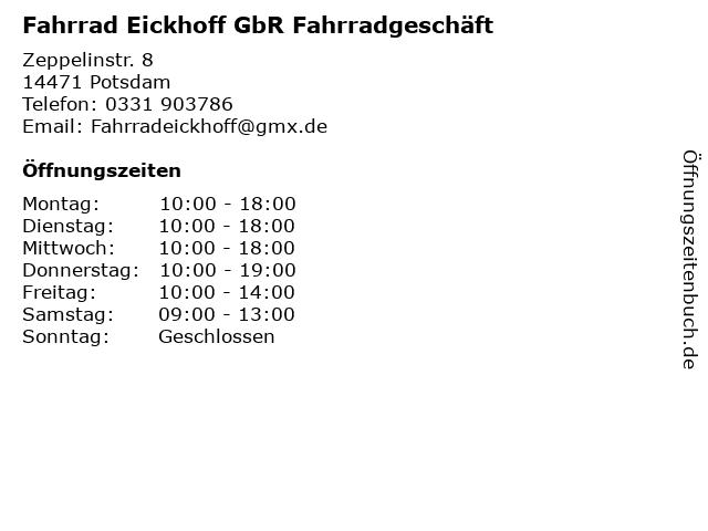 Fahrrad Eickhoff GbR Fahrradgeschäft in Potsdam: Adresse und Öffnungszeiten