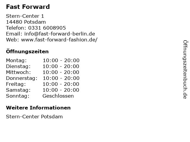 Fast Forward in Potsdam: Adresse und Öffnungszeiten