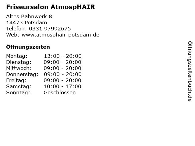 Friseursalon AtmospHAIR in Potsdam: Adresse und Öffnungszeiten