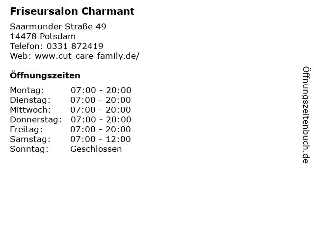 Friseursalon Charmant in Potsdam: Adresse und Öffnungszeiten
