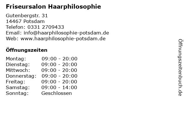 Friseursalon Haarphilosophie in Potsdam: Adresse und Öffnungszeiten