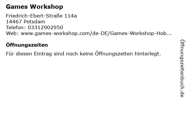 Games Workshop in Potsdam: Adresse und Öffnungszeiten