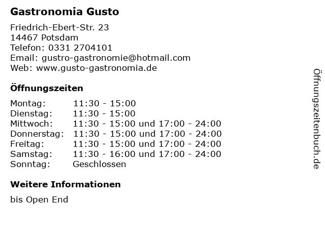 Gastronomia Gusto in Potsdam: Adresse und Öffnungszeiten