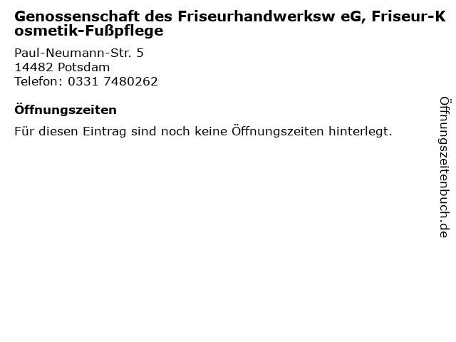 Genossenschaft des Friseurhandwerksw eG, Friseur-Kosmetik-Fußpflege in Potsdam: Adresse und Öffnungszeiten