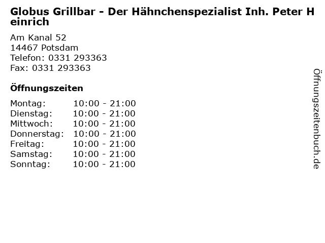 Globus Grillbar - Der Hähnchenspezialist Inh. Peter Heinrich in Potsdam: Adresse und Öffnungszeiten