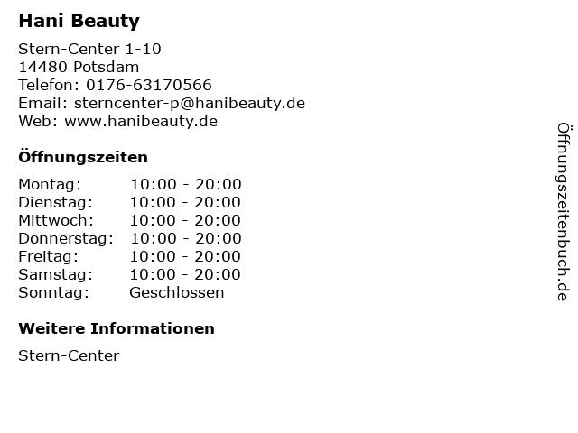 Hani Beauty in Potsdam: Adresse und Öffnungszeiten
