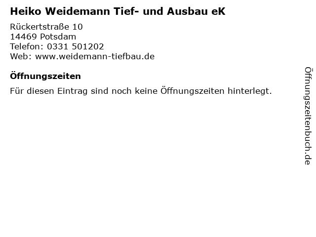 Heiko Weidemann Tief- und Ausbau eK in Potsdam: Adresse und Öffnungszeiten