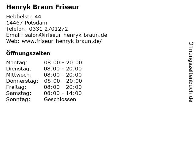 Henryk Braun Friseur in Potsdam: Adresse und Öffnungszeiten