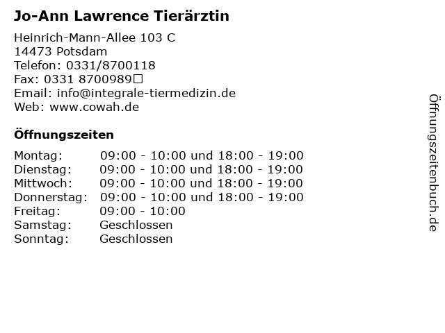 Jo-Ann Lawrence Tierärztin in Potsdam: Adresse und Öffnungszeiten