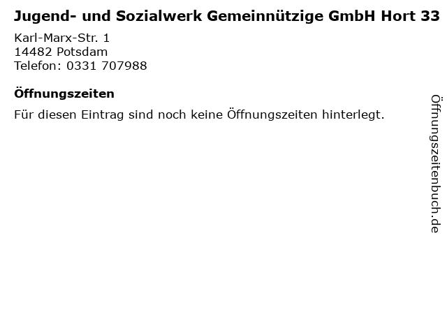 Jugend- und Sozialwerk Gemeinnützige GmbH Hort 33 in Potsdam: Adresse und Öffnungszeiten