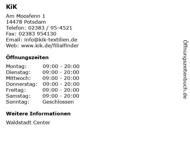 KiK Textilien & Non-Food GmbH in Potsdam: Adresse und Öffnungszeiten