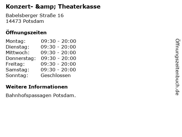 Konzert- & Theaterkasse in Potsdam: Adresse und Öffnungszeiten
